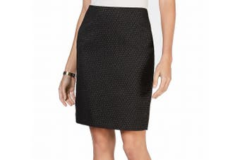 Anne Klein Women's Skirt Black Size 8 Straight Pencil Pin-Dots Pockets