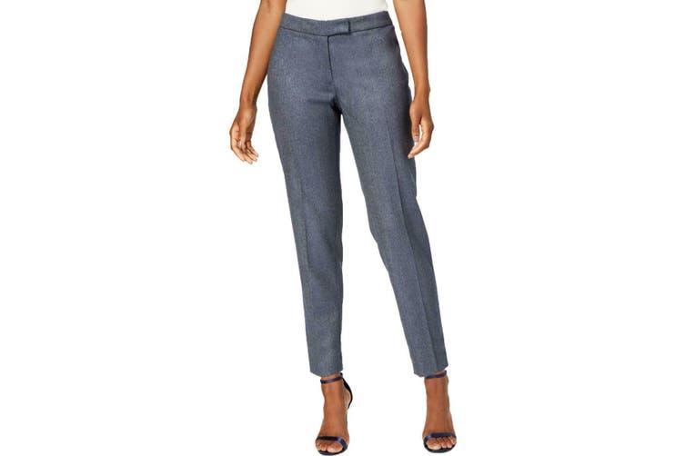 Anne Klein Women's Blue Size 4 Herringbone Slim Dress Pants Stretch