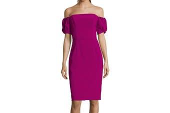 Betsy & Adam Women's Dress Purple Size 6 Sheath Off Shoulder Crepe
