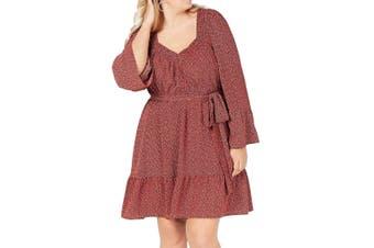 MICHAEL Michael Kors Womens Dress Red Size 2X Plus A-Line Smocked-Neck