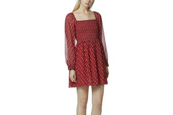Avec Les Filles Women's Dress Red Size Large L Tunic Chiffon Peasant