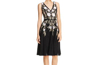 Aidan Mattox Women's Dress Black Size 4 A-Line Velvet Embellished