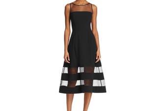 Aidan by Aidan Mattox Womens Dress Black Size 4 A-Line Illusion Stripe
