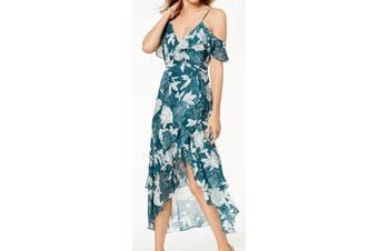 Bardot Women's Green 6 A-Line Leaf Print Flutter Cold Shoulder Dress
