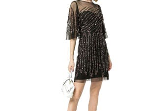 Aidan Mattox Women's Dress Black 4 Sheath Sequin Mesh Flutter-Sleeve
