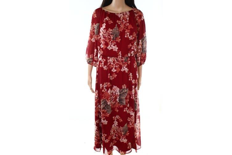 Lauren by Ralph Lauren Women's Dress Deep Red Size 6 Maxi Floral
