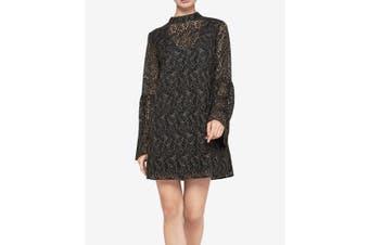 BCBG Generation Women's Dress Black Medium M Corded Lace Bell-Sleeve