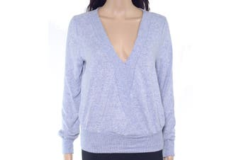 BCX Women's Sweater Light Sky Blue Size Large L Fuzz Band Pullover