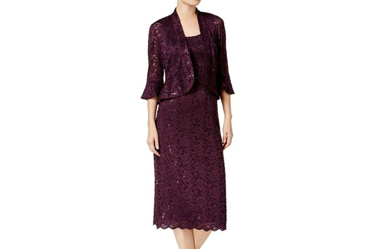 R&M Richards Women's Jacket Dress Purple 18 Sheath Sequin Embellished