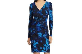 American Living Women's Dress Blue Size 10 Floral-Print Surplice