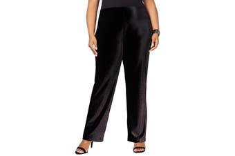 Alfani Women's Black Size 1X Plus Foil Velvet Wide Leg Pants Stretch