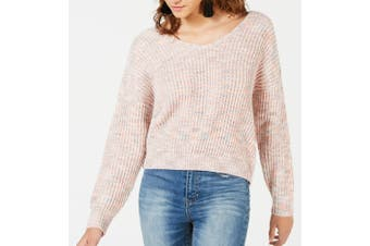 American Rag Sweater Pink Small S Junior Twist-Back Marled Pullover