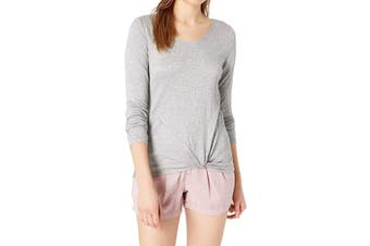 BCX Knit Top Pucker Gray Size Small S Junior Twist Front Strappy Back