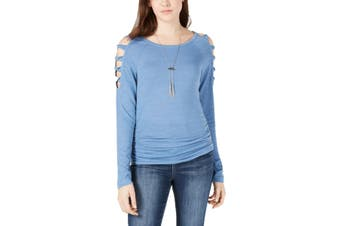 BCX Knit Top Sky Blue Size Medium M Junior Ruched Cold-Shoulder
