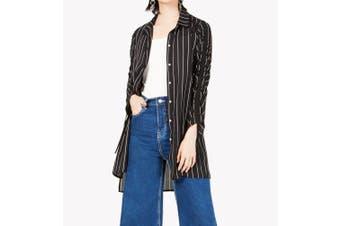 Bar III Women's Shirt Black Size Medium M Button Down Stripe Ruched