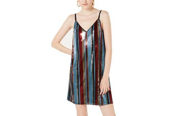 As U Wish Women's Dress Blue Size Large L Shift Sequin Embellished