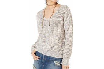 American Rag Women's Sweater Beige XXL Plus Pullover Twist-Back Marle