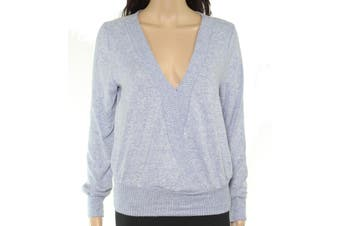 BCX Women's Sweater Blue Size Medium M Pullover V-Neck Fuzzy Banded