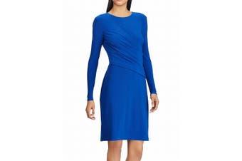 American Living Women's Dress Blue Size 12 Sheath Shirred Jersey