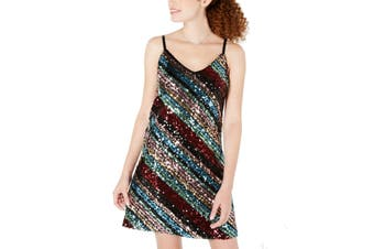 As U Wish Women's Dress Black Size XS A-Line Sequin Rainbow V-Neck
