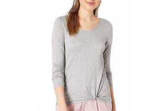 BCX Women's Knit Top Pucker Gray Size Large L Twist Fron Strappy Back