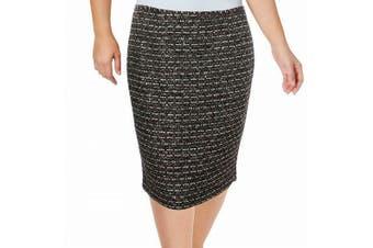 Calvin Klein Women's Skirt Red Black Size 14 Straight Tweed Sequined