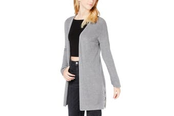 Hippie Rose Women's Sweater Gray Size XS Lace-Up-Back Knit Cardigan