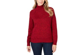 Karen Scott Women's Sweater Red Size Small S Turtleneck Marled Knitted