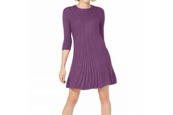 NY Collection Women's Dress Purple Size PXL Petite Sweater Cable Knit