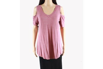 Belle Women's Top Mauve Pink Size Small S Cold Shoulder Studded Knit #852