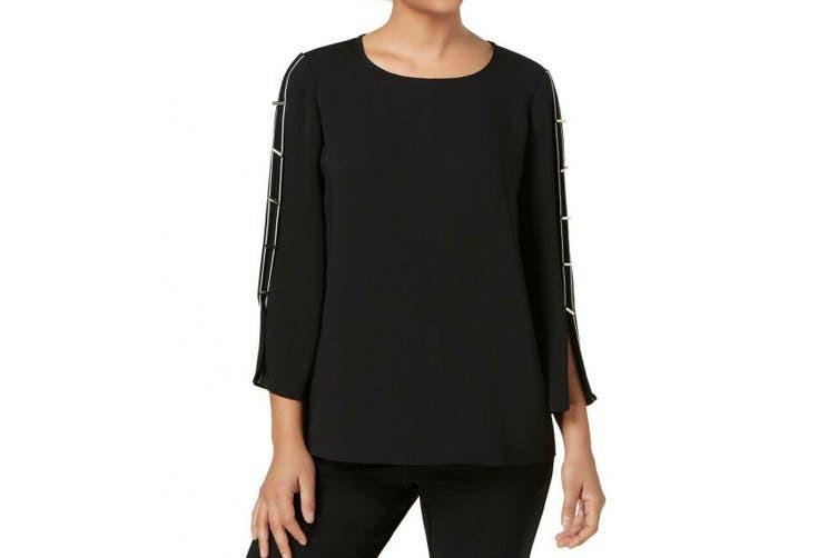 Alfani Women's Blouse Black Size Medium M Hardware Split-Sleeves