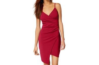 Almost Famous Dress Red Size Medium M Junior Asymmetrical Faux-Wrap