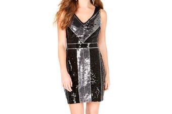 B. Darlin Juinor Dress Silver Size 7/8 Sequin Embellish Colorblock