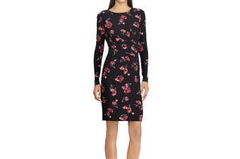 American Living Women's Dress Black Size 14 Sheath Floral-Printed