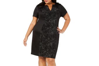 Connected Apparel Women's Dress Black Size 18W Plus Sheath Embellish