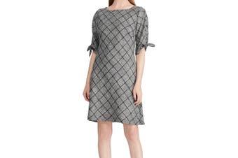 American Living Women's Dress Beige Size 10 Sheath Tie-Sleeves Cutout