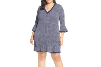 MICHAEL Michael Kors Women's Dress Blue Size 0X Plus Sheath V-Neck