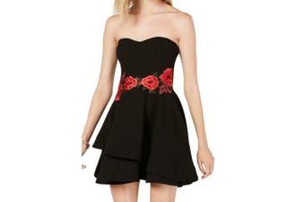 B. Darlin Dress Black Size 4 Junior A-Line Floral Sweetheart Flare