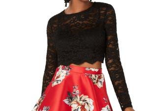 City Studio Juniors Top Black Size 7 Cropped Floral-Lace Glitter
