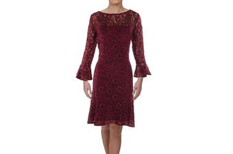 American Living Women's Dress Red Size 4 Bell-Sleeves Floral Lace