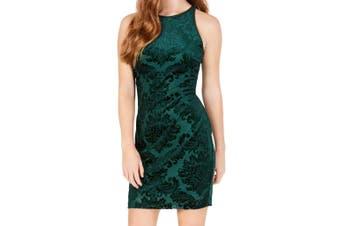 B. Darlin Dress Green Size 3/4 Junior Sheath Burnout Damask Mini Velvet
