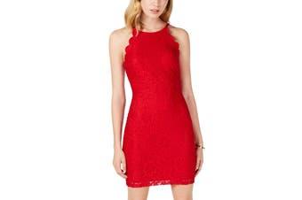 BCX Dress Red Size 1 Junior Sheath Floral-Lace Mini Scallop-Trim