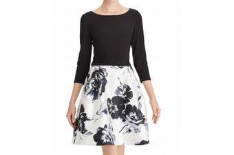 American Living Women's Dress Black Size 4 A-Line Colorblock Floral