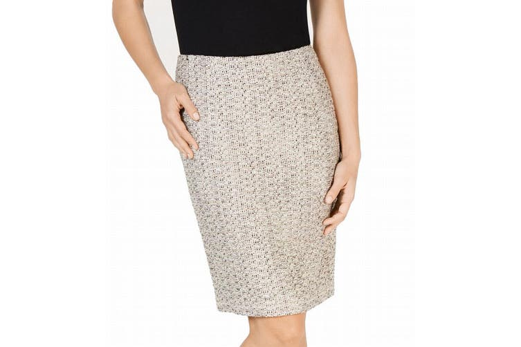 Kasper Women's Skirt Beige Size 10 Straight Pencil Metallic Tweed Slim