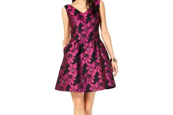 Donna Ricco Women's Dress Black Size 8 A-Line Floral Print Shimmer