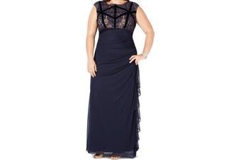 Betsy & Adam Women's Dress Blue Size 14W Plus Ruched Velvet Gown
