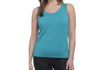 August Silk Women's Top Classic Blue Size Small S Knit Tank Jersey