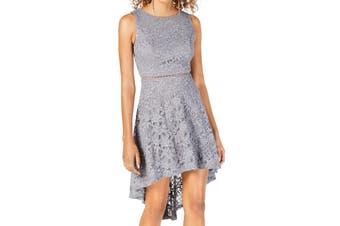 City Studio Junior's Dress Gray Size 9 Sheath Floral Lace Hi-Low