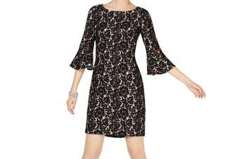 Jessica Howard Women's Dress Black Size 14 Sheath Bell-Sleeve Boat-Neck