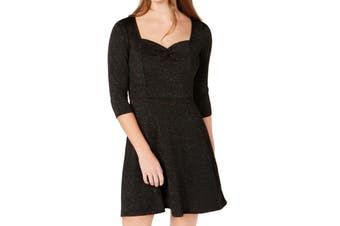Be Bop Juinors Dress Black Small S Sheath Cinch Front Seamed Shimmer